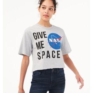 NASA give me space crop top tee large Aeropostale